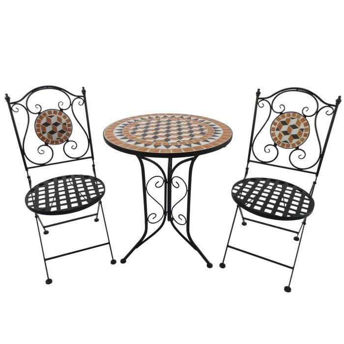 Salon de jardin 2 pers. 3 pièces ensemble bistrot style fer ...