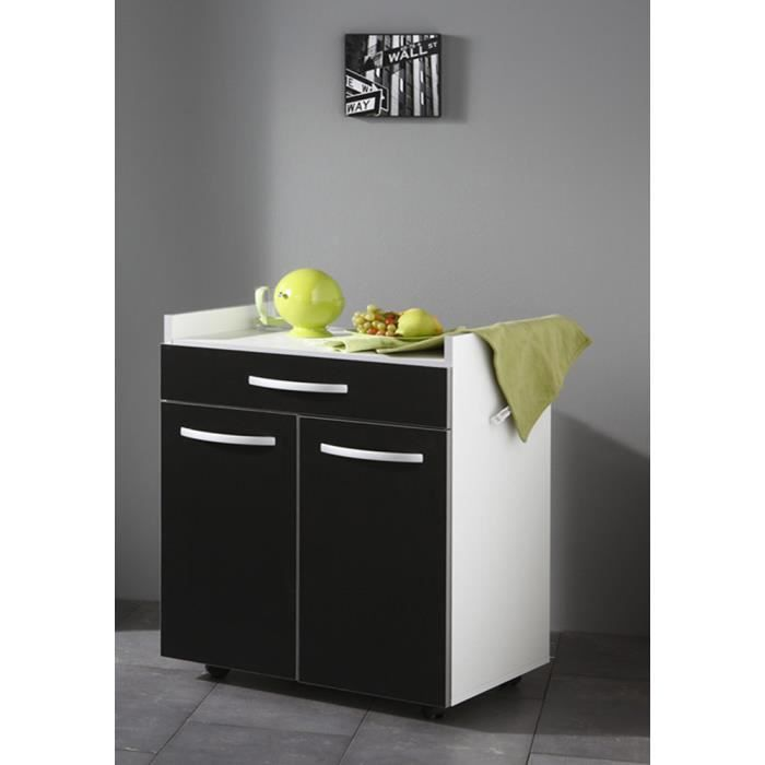 desserte de cuisine coloris blanc et noir avec 2 portes et 1 tiroir h 81 x l 60 x p 44 cm. Black Bedroom Furniture Sets. Home Design Ideas
