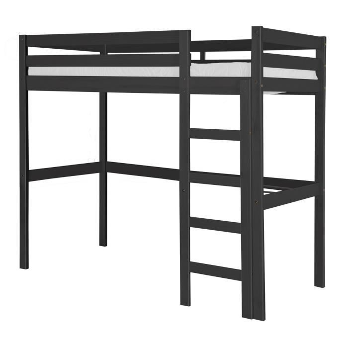 lit mezzanine rimini 90x190 graphite achat vente lit. Black Bedroom Furniture Sets. Home Design Ideas