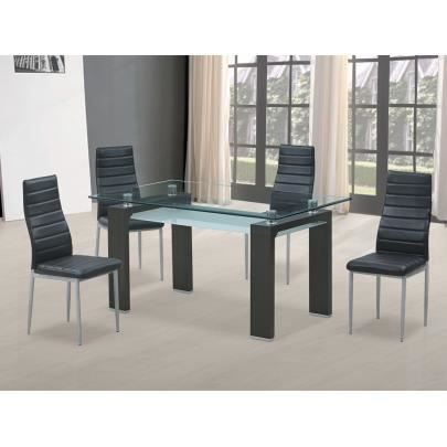 Table sharon 6 couverts verre tremp mdf laqu for Table de salle a manger 15 couverts