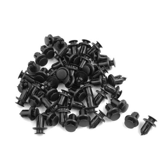 sourcing map Pare-boue de Voiture Trou de 7mm Dia Tige-Poussoir Rivet Plastiques Agrafe Noir 100 Pcs