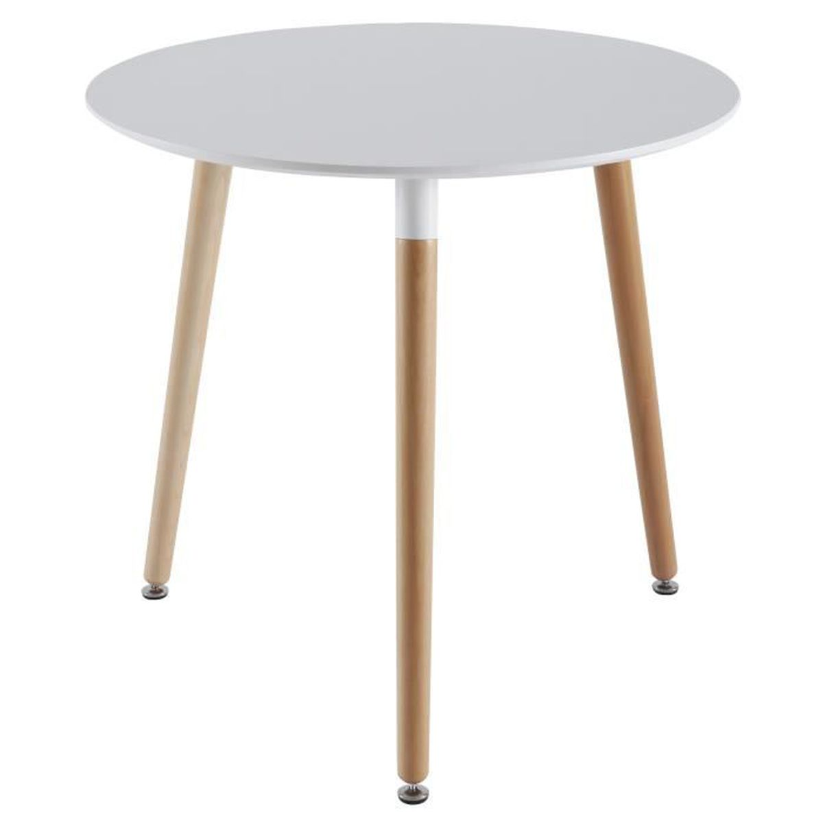Table ronde design scandinave coloris blanc et bois for Table ronde extensible style scandinave