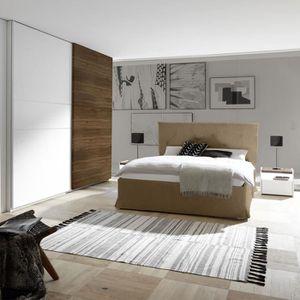 STRUCTURE DE LIT Chambre adulte moderne blanc et couleur noyer fonc