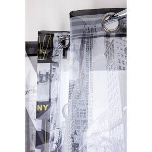 VOILAGE Voilage 135 x 260 cm 6 Oeillets avec Imprimé Ville