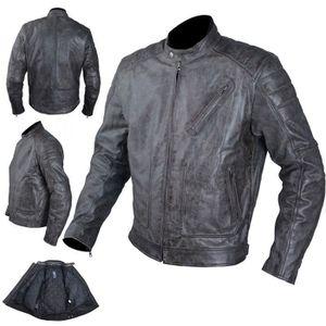 BLOUSON - VESTE Blouson Cuir Moto Veste Vintage Thermique Protecti