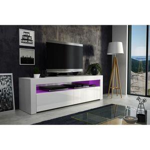 MEUBLE TV Meuble tv  157 cm blanc mat et façade laquée  avec