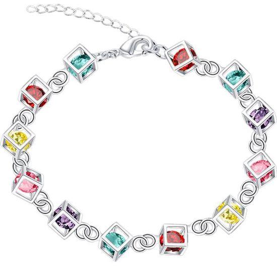 """Femmes 925 Sterling Silver Dangle Zircon Cubique Perle /& Cercle Avec Chaîne Bracelet 8-9/"""""""