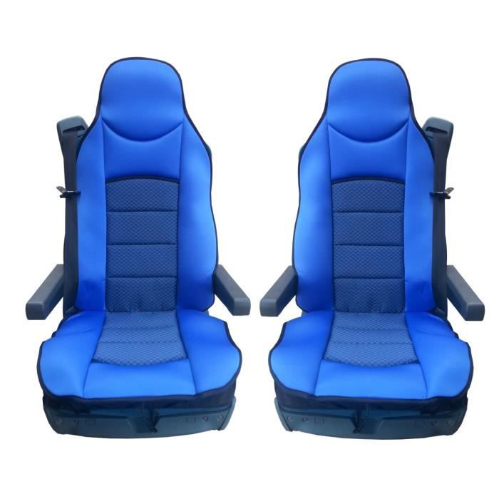 2x LUXE HOUSSE COUVRE SIEGE COUVRE-SIEGE BLUE POUR MERCEDES ACTROS AXOR ATEGO