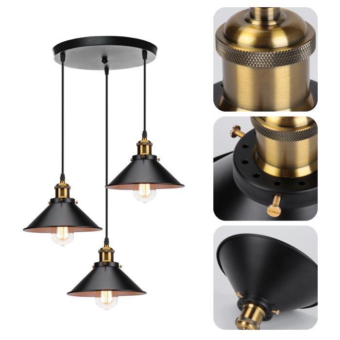MOGOD Rétro 3 Têtes Lustre en Métal E27 Ø22cm Lampe Suspension Filaire Ajustable Vintage Plafonnier Intérieur décorer La Chambre