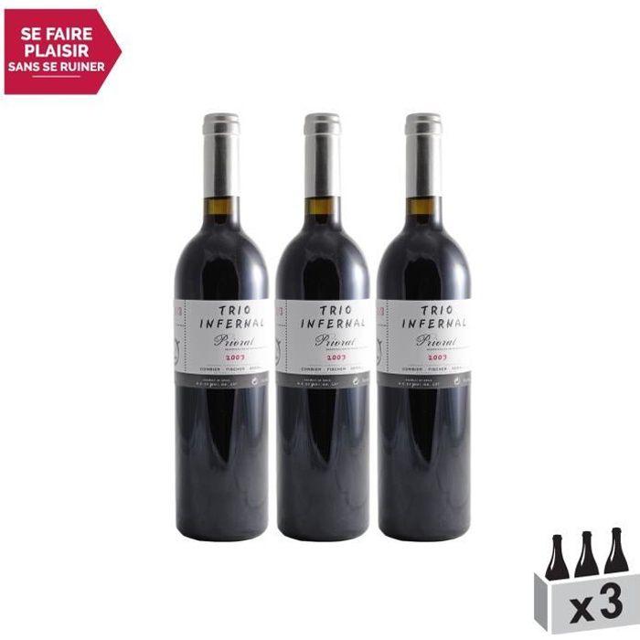Priorat Priorat 1-3 Rouge 2003 - Lot de 3x75cl - Trio Infernal - Vin D.O Rouge - Origine Espagne - Cépages Cabernet Sauvignon,