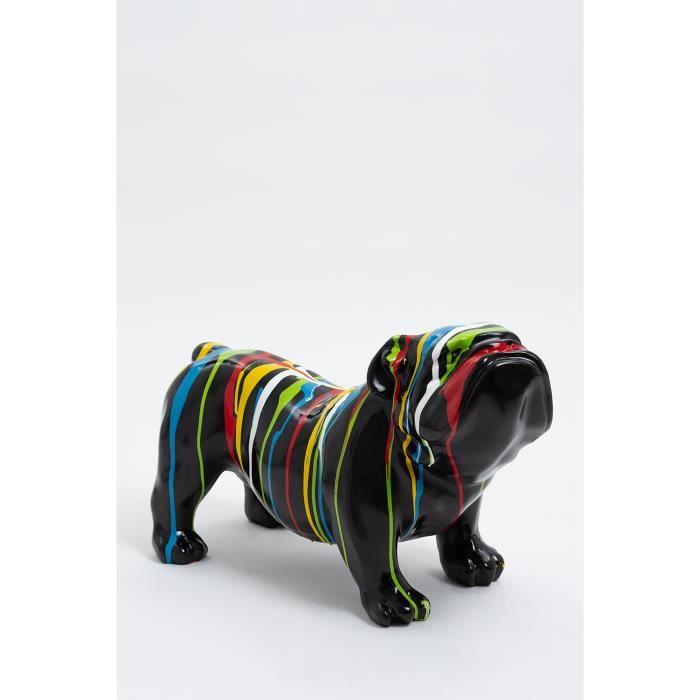 Statue chien bouledogue anglais grognon taille S - CARDIFF - 60cm - sculpture résine animal design deco decoration