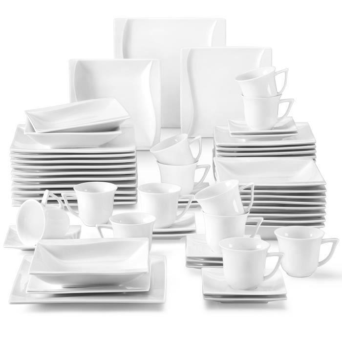 Malacasa Carina 60pcs Service de Table Porcelaine 12 Tasses à Café 12 Sous-tasse 12 Assiette à Dessert 12 Creuses 12 Plates