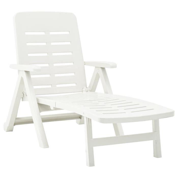 CMOPPN® Chaise Longue de jardin bain Relaxation Fauteuil Relax extérieur pliable Plastique Blanc VDAPBQ