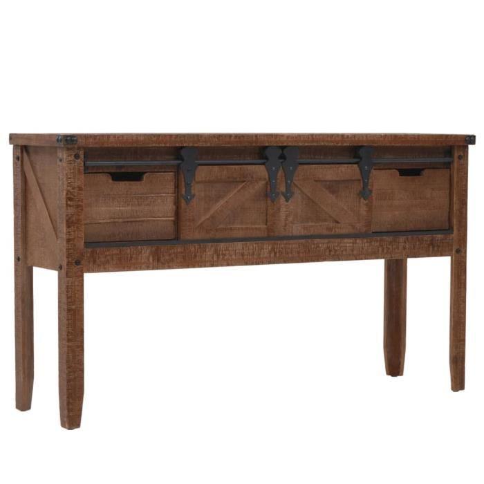 Magnifique Luxueuse Table console Bureau table d'entrée -Table de Salon Bois massif de sapin 131 x 35,5 x 75 cm Marron