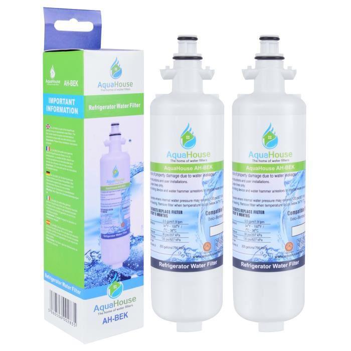 2x AquaHouse AH-BEK Réfrigérateur Filtre à eau pour Beko 4874960100, Lamona HJA6110 LAM6100, Blomberg KFD9952PXDUK Grundig GSN9440XA