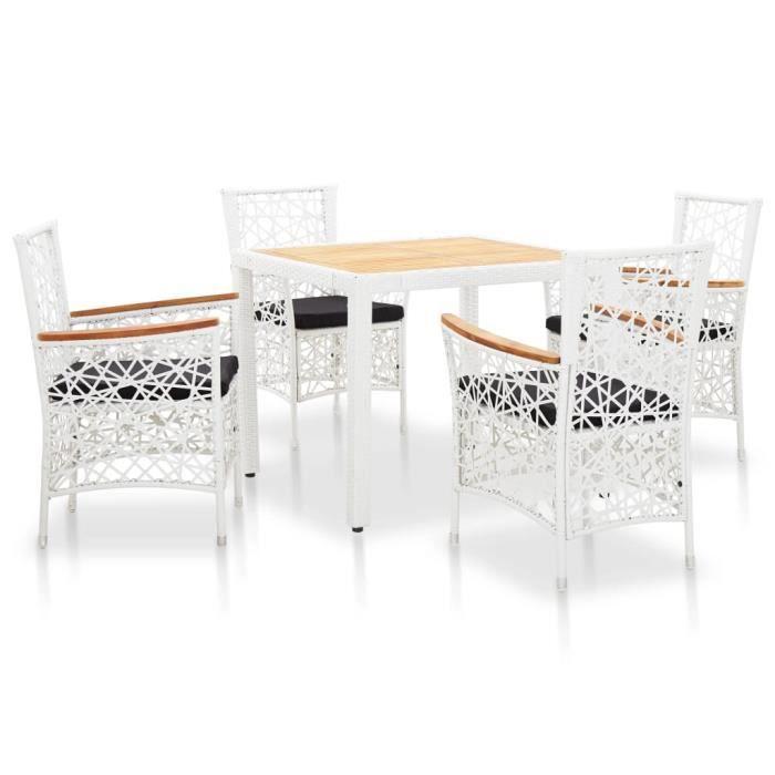Ensemble de salle à manger d'extérieur design élégant 1 x table+4 x chaises Résine tressée Blanc