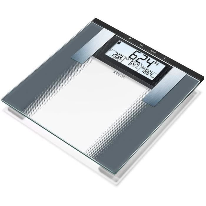 Sanitas SBG 21 Pèse-personne impédancemètre, pour mesurer poids, graisse et eau corporelle, masse musculaire et masse osseuse, besoi