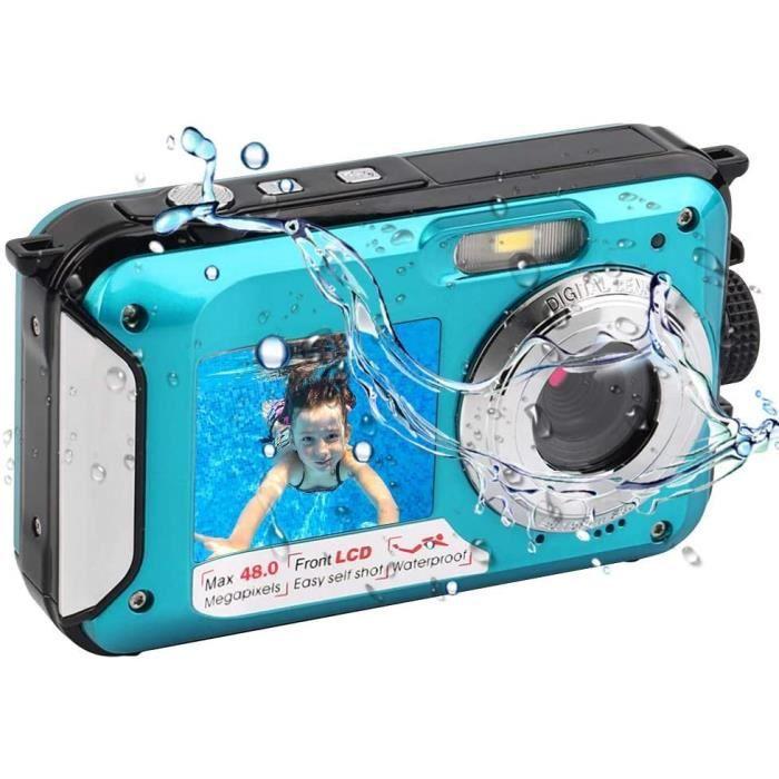 Appareil Photo Etanche Numérique pour la Plongée en Apnée Camera Etanche 2.7K 48MP avec Double écran pour Selfie Camera sous Marine
