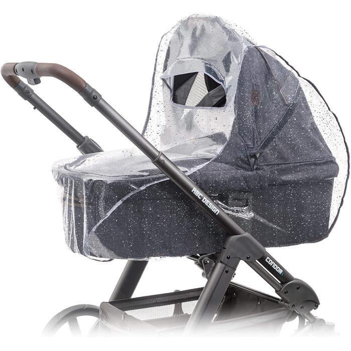 Habillage pluie confort universel pour landau, nacelle (par ex : Bébé confort, Cybex), bonne circulation de l'air, fenêtre de contac