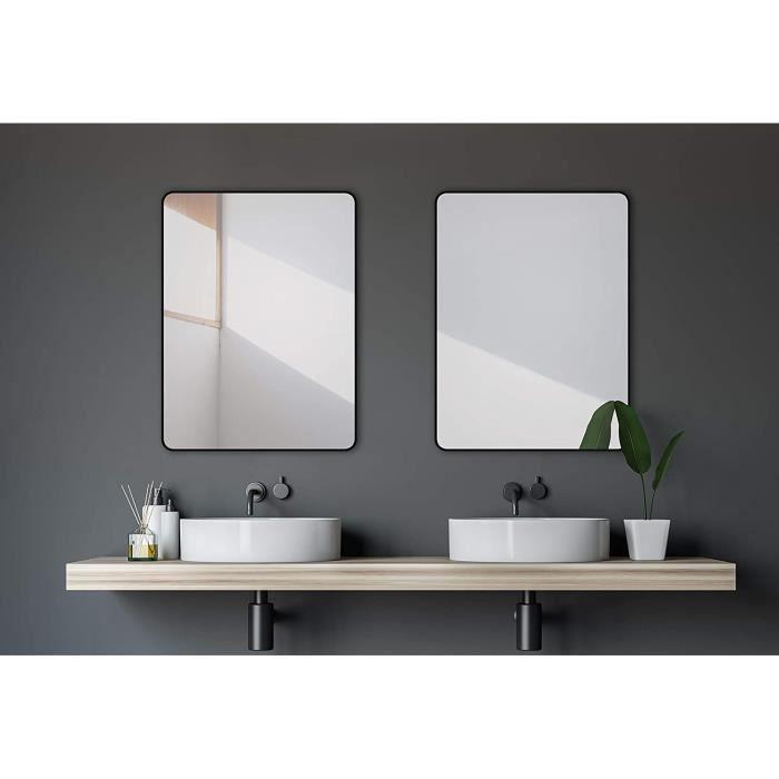 Talos Design Miroir Mural en Aluminium Noir Mat 80 x 60 cm Black Living265