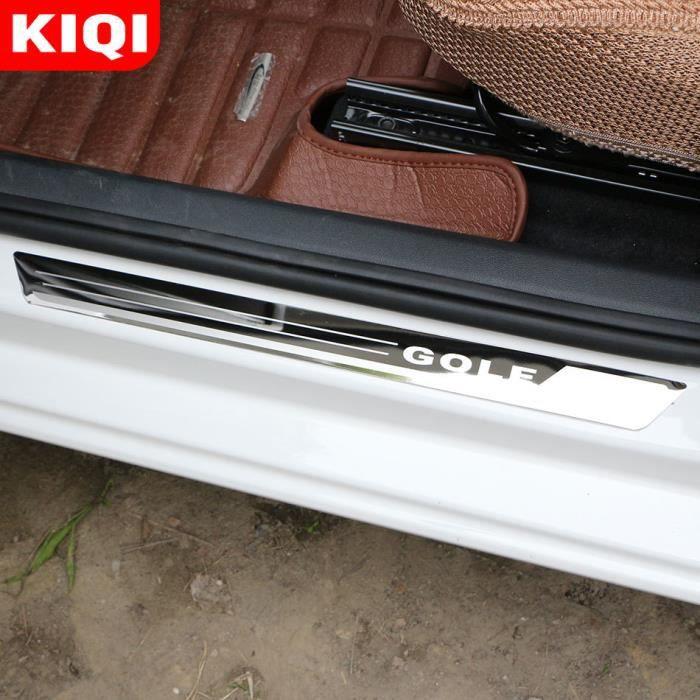 Pièces Auto,Acier inoxydable 4 pièces-ensemble seuil de porte de voiture plaque de seuil bienvenue garniture de pédale ajustement