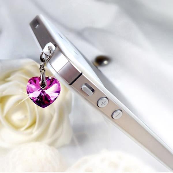 Accessoire Bijoux SmartPhone Coeur orné de cristaux de Swarovski Rose
