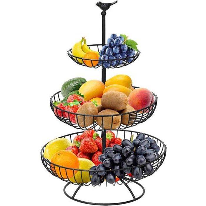 Corbeille Coupe à Fruits - 3 étages - Fer - 30x46cm - noir -BOT