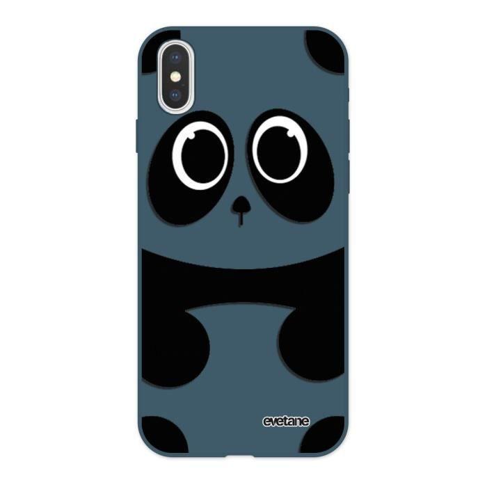 Coque iPhone X/XS Silicone Liquide Douce bleu nuit Panda Ecriture Tendance et Design Evetane.