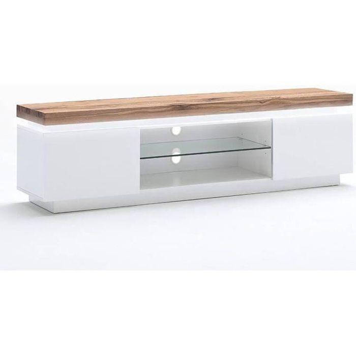 Meuble TV ROMINA 2 portes structure laquée blanc mat plateau chêne noueux huilé blanc Inside75