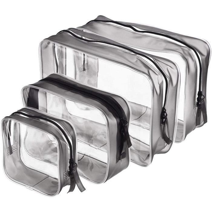 Leytn® 4 Pcs Trousse de Toilette Transparente Portable Sac Pochette de Maquillage PVC Étanche pour Voyage Salle de Bain