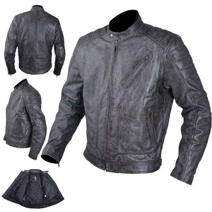 Blouson Cuir Moto Veste Vintage Thermique Protections CE Amovibles 3X