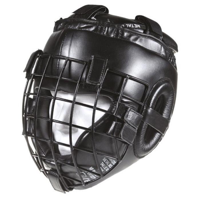 Casque Metal boxe spécial combat extrême à grille noir - L