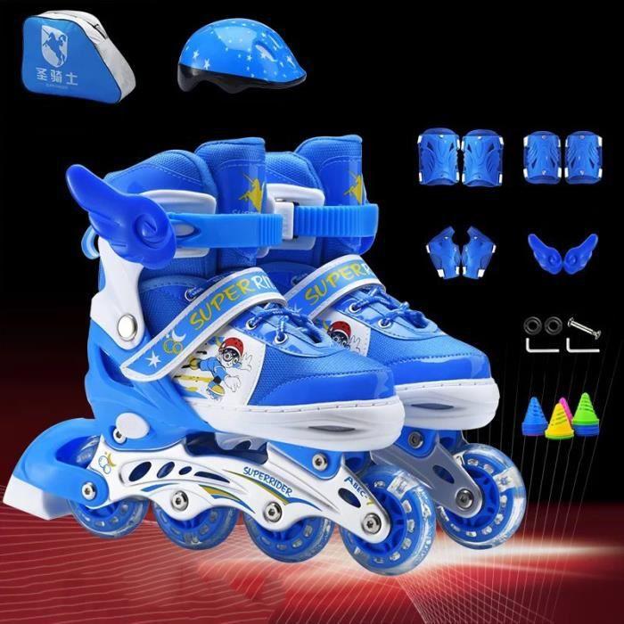 Roller Inline de marque Rollers Enfant Réglables avec Flash - Ensemble de roller - Bleu A 8038