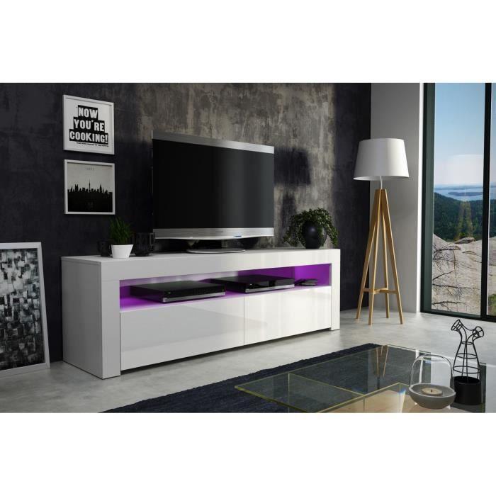 Meuble tv 157 cm blanc mat et façade laquée avec led