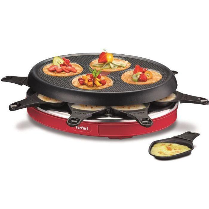 TEFAL RE138512 Appareil à raclette multifonctions Colormania 8 personnes Rouge