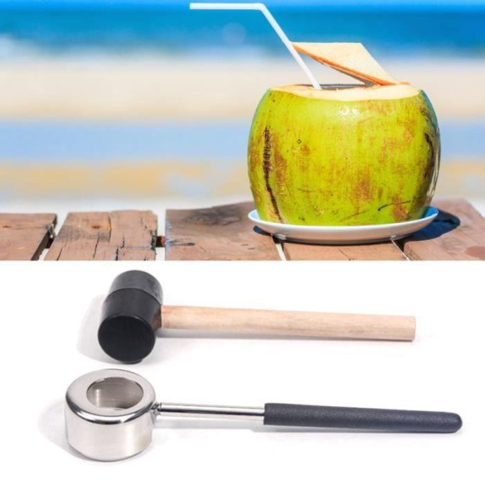 Ouvre-boîte à noix de coco Ouvre-porte en acier inoxydable de qualité alimentaire avec TIRE-BOUCHON - DECAPSULEUR - LIMONADIER