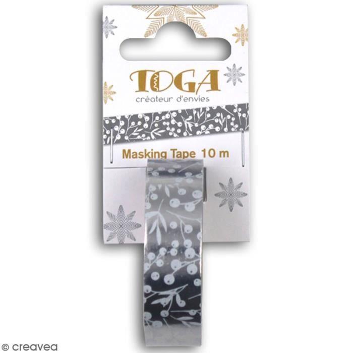 Masking Tape - Baies blanches papier argenté - 10 m - 1 pce
