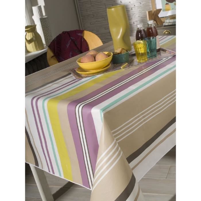 nappe en toile cir e rectangulaire 140x200 cm colrama stripe beige achat vente nappe de. Black Bedroom Furniture Sets. Home Design Ideas