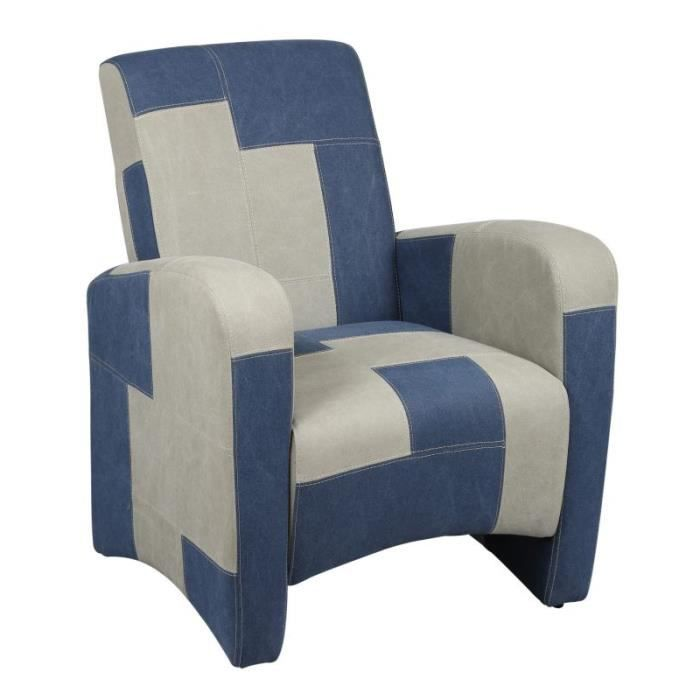 fauteuil club microfibre gris et bleu achat vente. Black Bedroom Furniture Sets. Home Design Ideas
