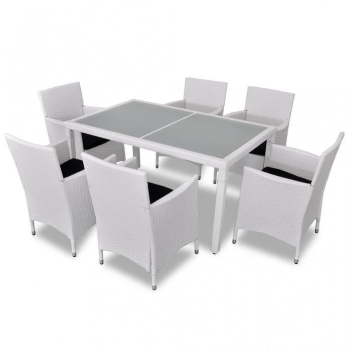 Salon de jardin blanc avec table + 6 chaises rotin résine ...