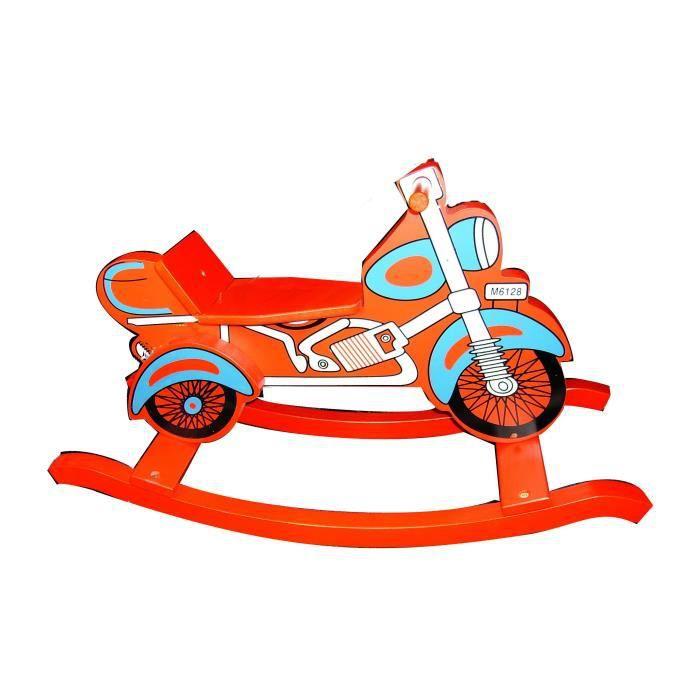 Moto à bascule en bois peint - Achat / Vente