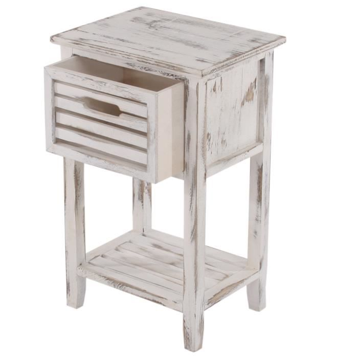 table d 39 appoint chevet 1 tiroir 35x27x57cm shabby vintage blanc achat vente table d. Black Bedroom Furniture Sets. Home Design Ideas