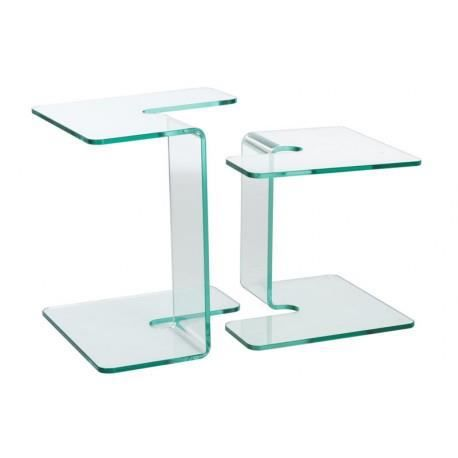 Set de 2 tables gigognes carr es en verre transparent for Set de table pour table en verre
