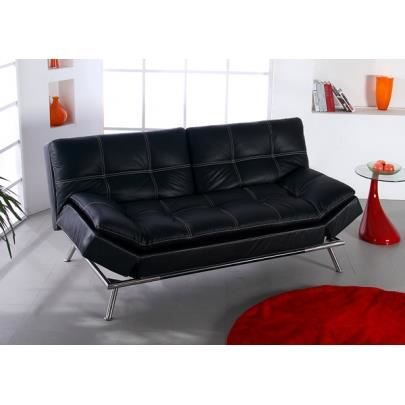 canap clic clac en simili timeo noir achat vente. Black Bedroom Furniture Sets. Home Design Ideas