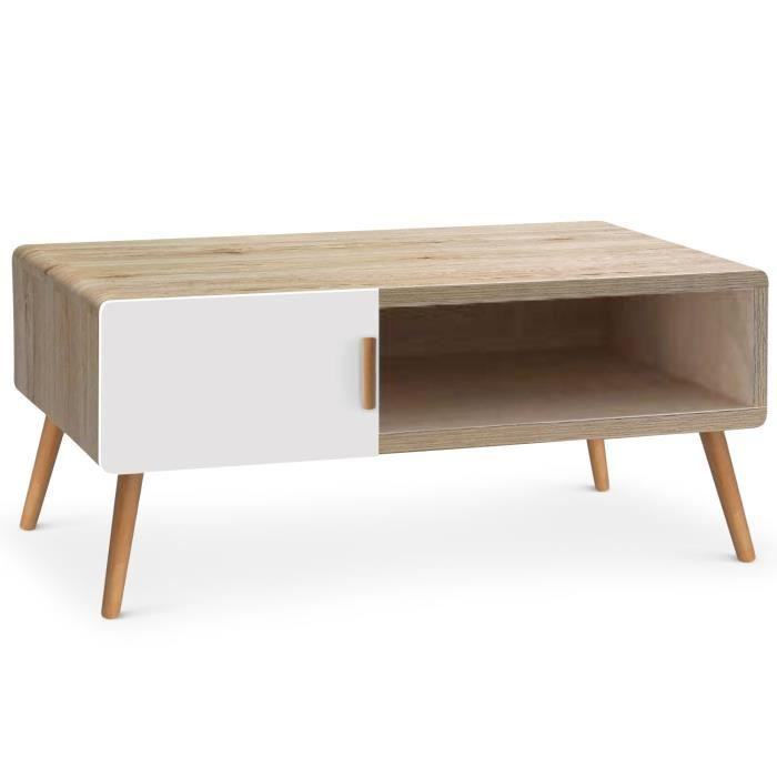 Table basse scandinave amanda ch ne clair et blanc achat for Table basse scandinave laquee