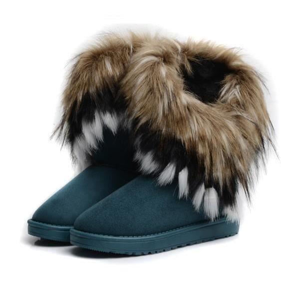 Bottes fourrées femme mode feminine hiver Neige bottes fourrees interieur  chaud Chaussures Faux Fourrure