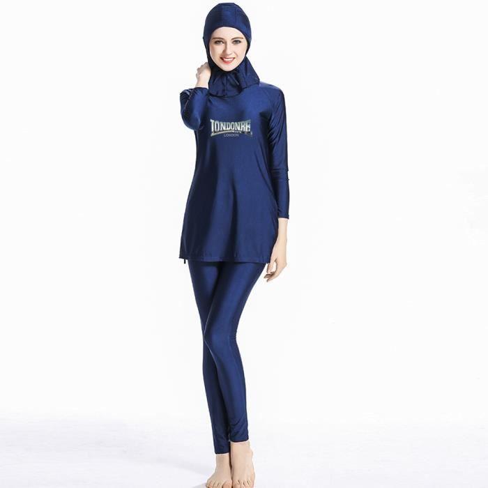 HaoFan Maillot de Bain Musulman Modeste Ensemble de Burkini pour Femmes Ensemble de Pantalons Hijab Couverture Compl/ète S/échage Rapide /Élastique Beachwear Protection Solaire UPF 50+