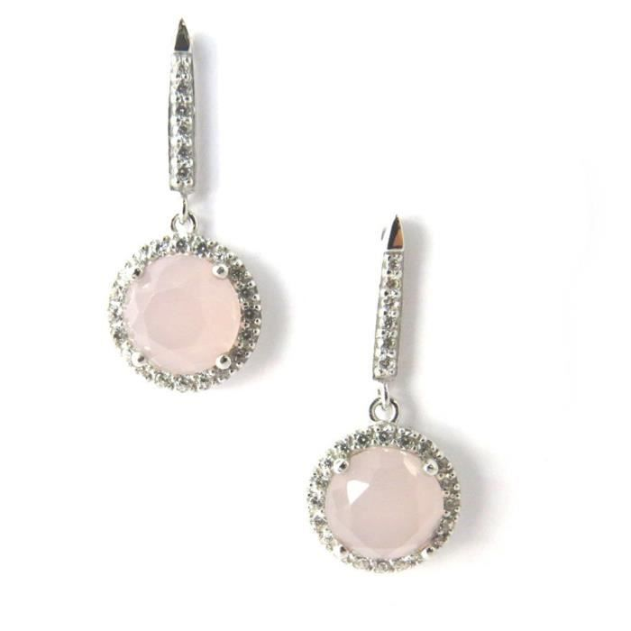 Altesse [M5898] - Boucles Plaqué Or Sissi quartz rose