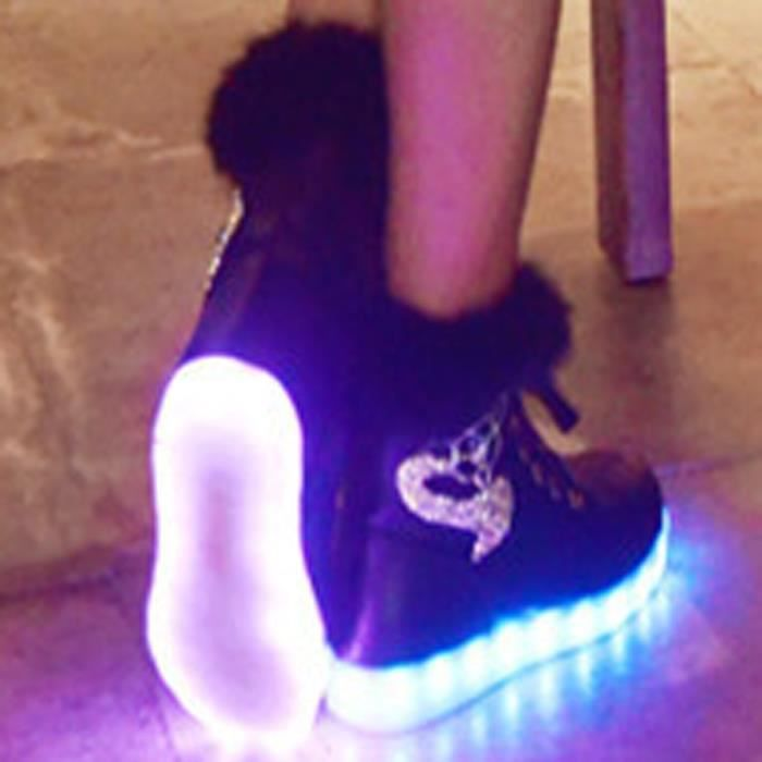 Femme Mode Boots USB Charger LED Lumineuse Strass Décoration -Noir