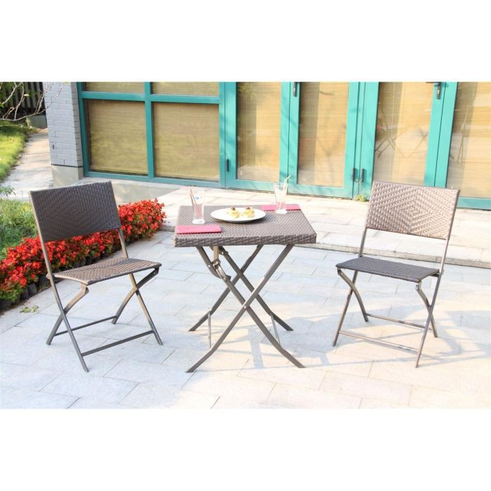 set table et 2 chaises pliantes m tal et r sine achat vente salon de jardin set table 2. Black Bedroom Furniture Sets. Home Design Ideas